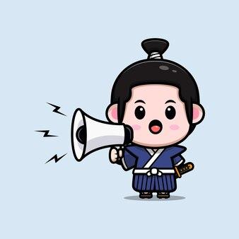 Cute samurai boy speaking on megaphone mascot illustration