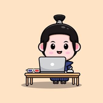 Cute samurai boy working from home mascot illustration
