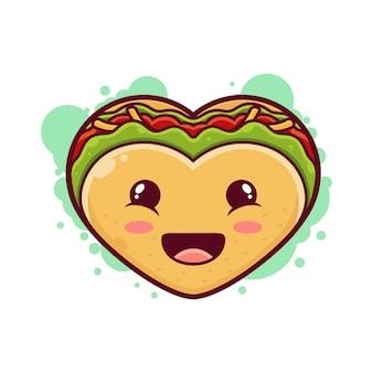 Милый сэндвич мультипликационный персонаж. иконка иллюстрация. концепция значок еда завтрак на белом фоне