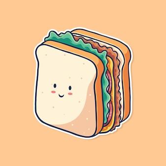 Милый сэндвич иллюстрации вектор дизайн