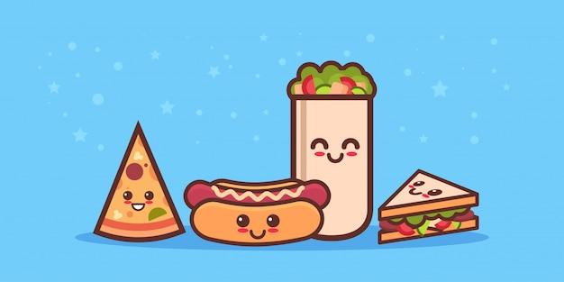 Cute sandwich pizza hot dog