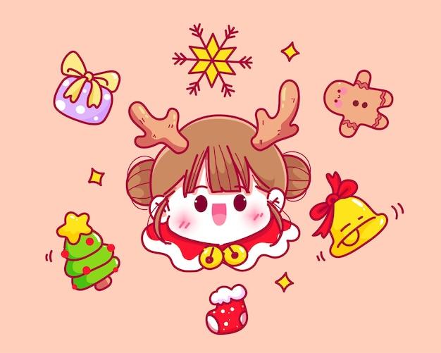 かわいいサンタとクリスマス要素コレクション手描き漫画アートイラスト