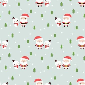 クリスマスの冬のテーマのシームレスなパターンでかわいいサンタとトナカイ