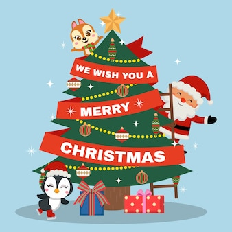 Cute santa and animal friends decorating a christmas tree