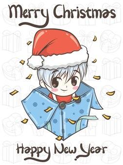 Милый мальчик санта с подарочной коробкой