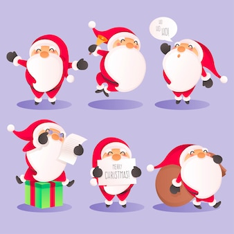 Cute santa character collection in different actions