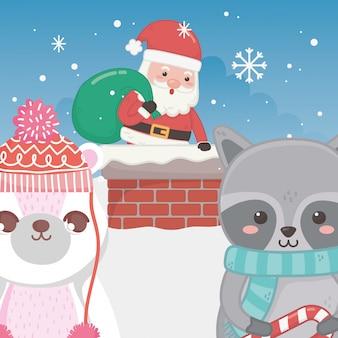 Cute santa in chimney raccoon and polar bear merry christmas