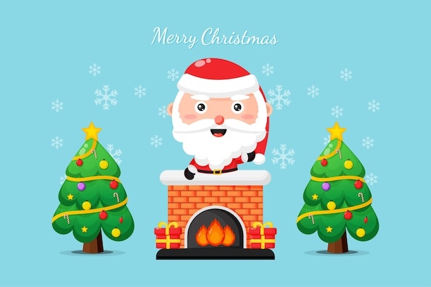 Cute santa on the chimney wish you a merry christmas