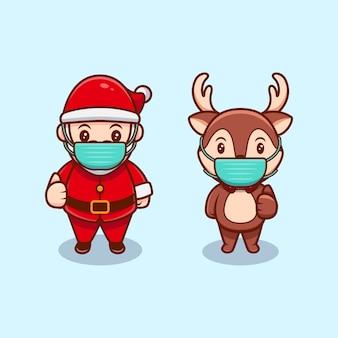 귀여운 산타 클로스와 크리스마스 순록이 입고 마스크 만화 아이콘 그림.