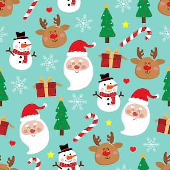 かわいいサンタクロースとクリスマスツリーのシームレスなパターン