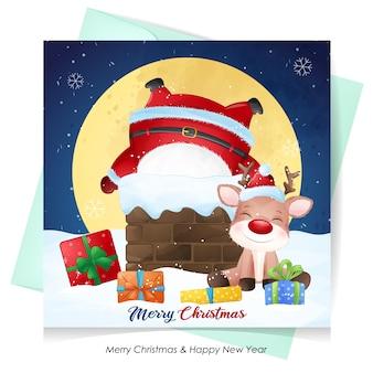 かわいいサンタクロースとクリスマスの水彩イラストの鹿