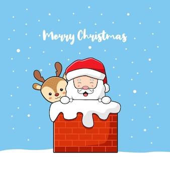 귀여운 산타 클로스와 사슴 인사말 메리 크리스마스와 새 해 복 많이 받으세요 만화 낙서 카드 배경 그림 평면 만화 스타일