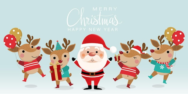 귀여운 산타 클로스와 사슴 그림