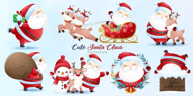 Милый санта-клаус и друзья на рождество с акварельной иллюстрацией