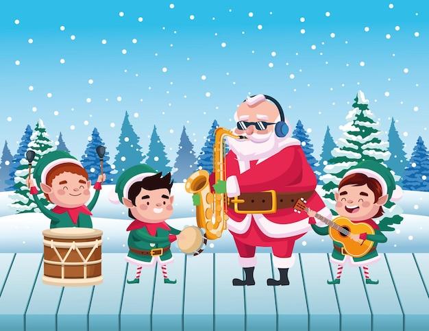 Милый санта-клаус и помощники, играющие на инструментах, иллюстрация сцены снежного пейзажа