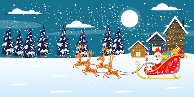 귀여운 산타 클로스와 그의 썰매와 순록