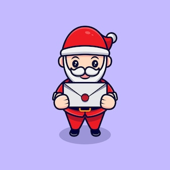 귀여운 산타 클로스와 편지 마스코트 만화 그림.