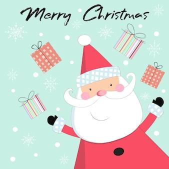 크리스마스에 귀여운 산타 클로스와 선물.