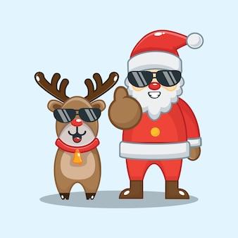 かわいいサンタクロースとメガネのトナカイ。クリスマスイラスト