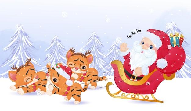 Cute santa claus and baby tigers christmas illustation