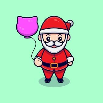 Cute santa claus and balloon mascot cartoon  illustration.