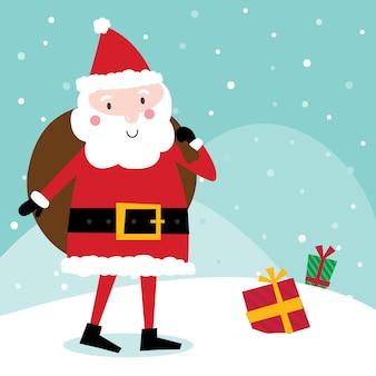 Cute santa claus bring gift sack, cute character