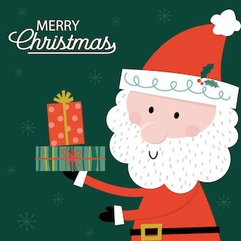 Cute santa claus brings a christmas gift design