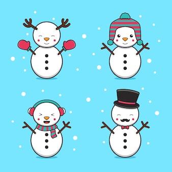 プレゼント袋メリークリスマス漫画落書きアイコンイラストを運ぶかわいいサンタクロース