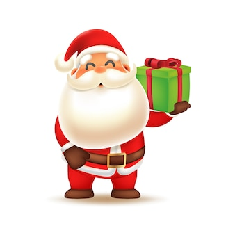 Cute santa claus carrying gift box