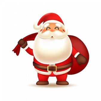 Cute santa claus carrying sack of gift box