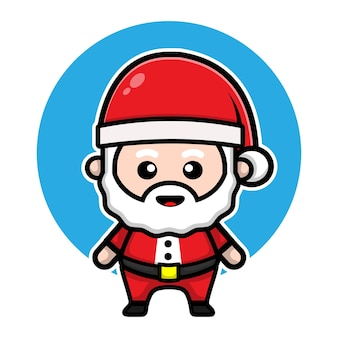 Cute santa claus cartoon character illustration christmas vector concept