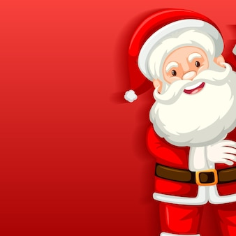 Cute santa claus cartoon character on red background