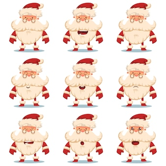 Cute santa claus  cartoon character set with different emotions. christmas decorative elements  on white background.