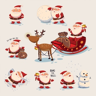 Cute santa claus cartoon characters set.