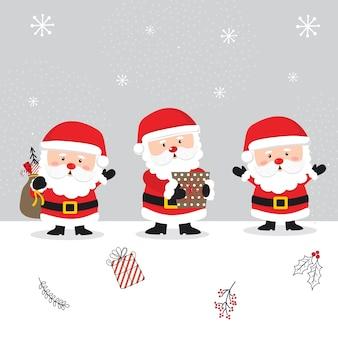 Милый санта-клаус, мультипликационный персонаж рождества
