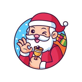Cute santa claus cartoon. icon illustration. christmas icon concept isolated