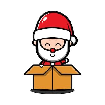 Милый мультфильм санта-клауса в коробке