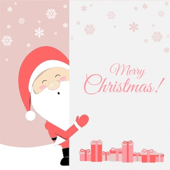 Cute santa claus cartoon lovely christmas background.