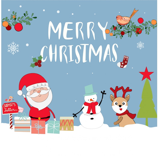 Cute santa claus cartoon in merry christmas theme