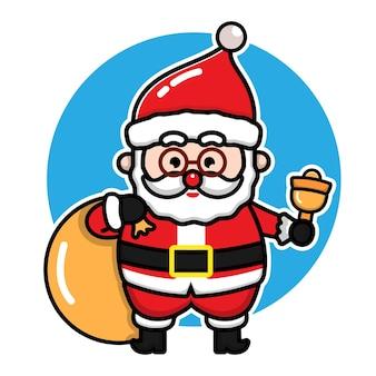 Милый санта-клаус мультяшный вектор рождественская концепция иллюстрации premium векторы