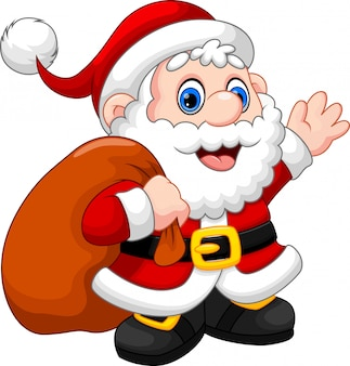 かわいいサンタクロース漫画を振って、クリスマスプレゼントを運ぶ