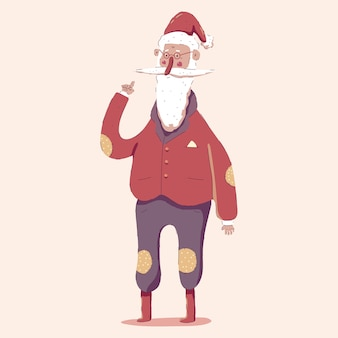 Cute santa claus character  cartoon illustration isolated on background.