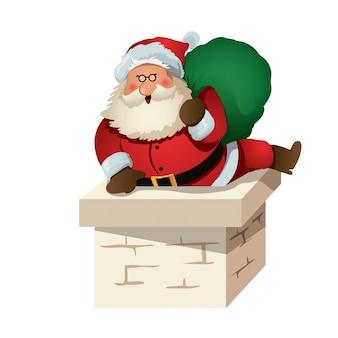 Cute santa claus character entering chimney