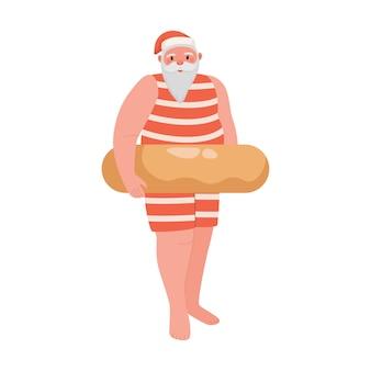 Cute santa claus character in swimming suit