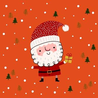 Милый персонаж санта-клауса с рождественским подарком в руке