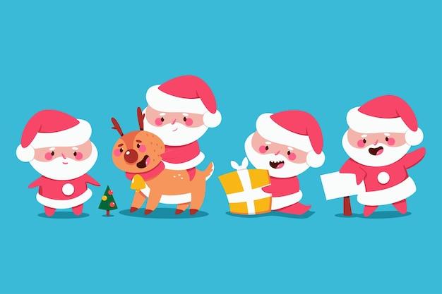 귀여운 산타 클로스 캐릭터 만화 세트 배경에 고립.