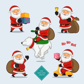 Cute santa claus characters collection