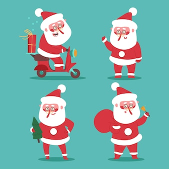 Cute santa claus characters vector cartoon set isolated on background.