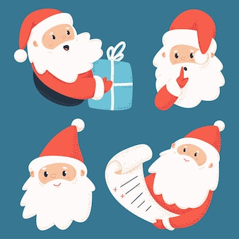 Cute santa claus characters with letter and gift box   set  on background.