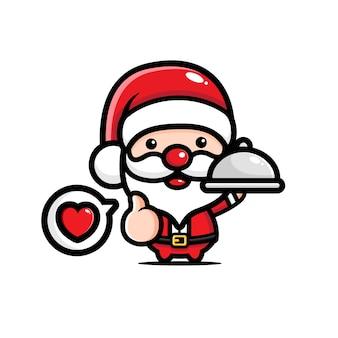 귀여운 산타 클로스 요리사 디자인